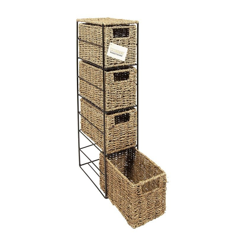slim storage tower with 4 wicker drawers