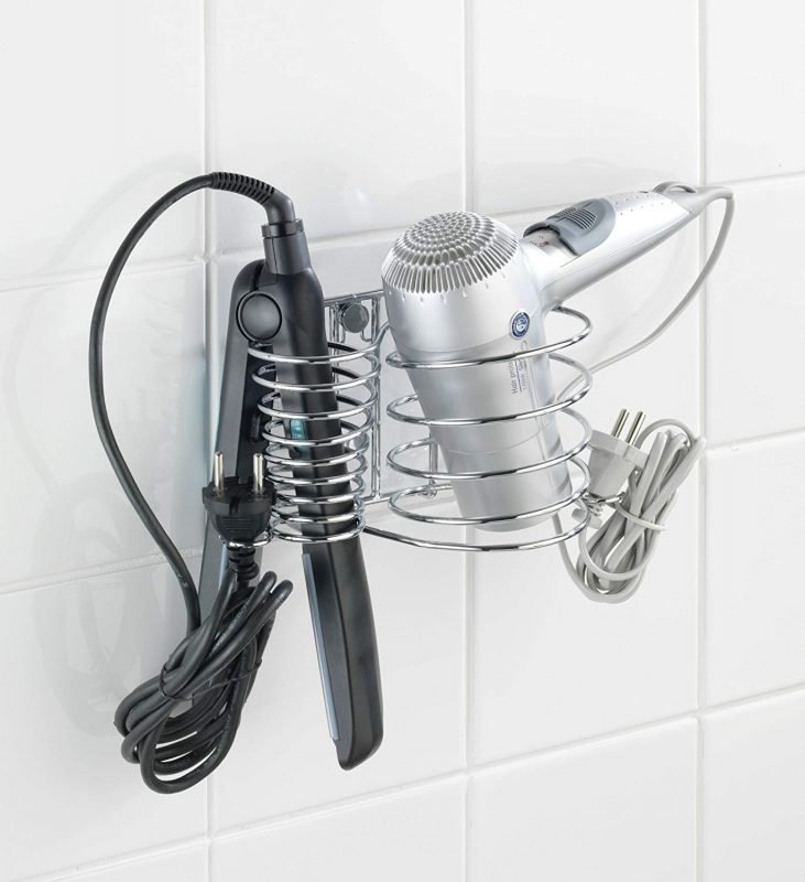 Wall mounted hair dryer and straightener storage