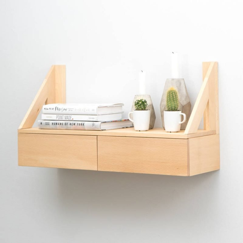Floating wall shelf with 2 drawers