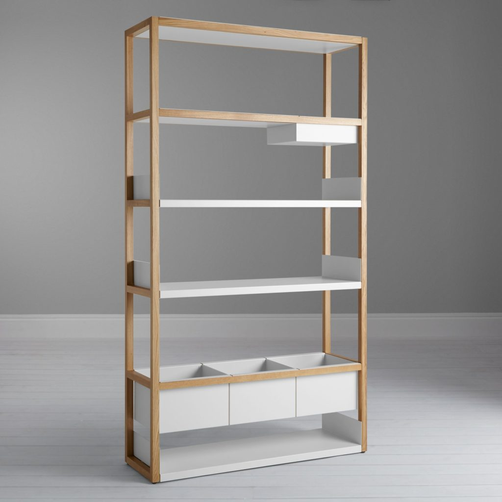 Vertical shelving unit with 3 shelves and 3 storage bins