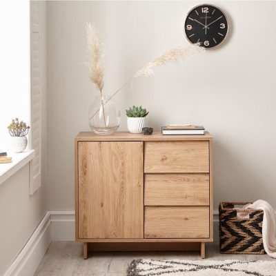 Compact sideboard with cupboard and 3 drawers