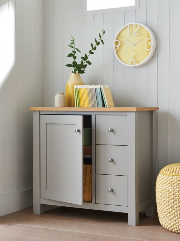 Grey painted cupboard with oak top