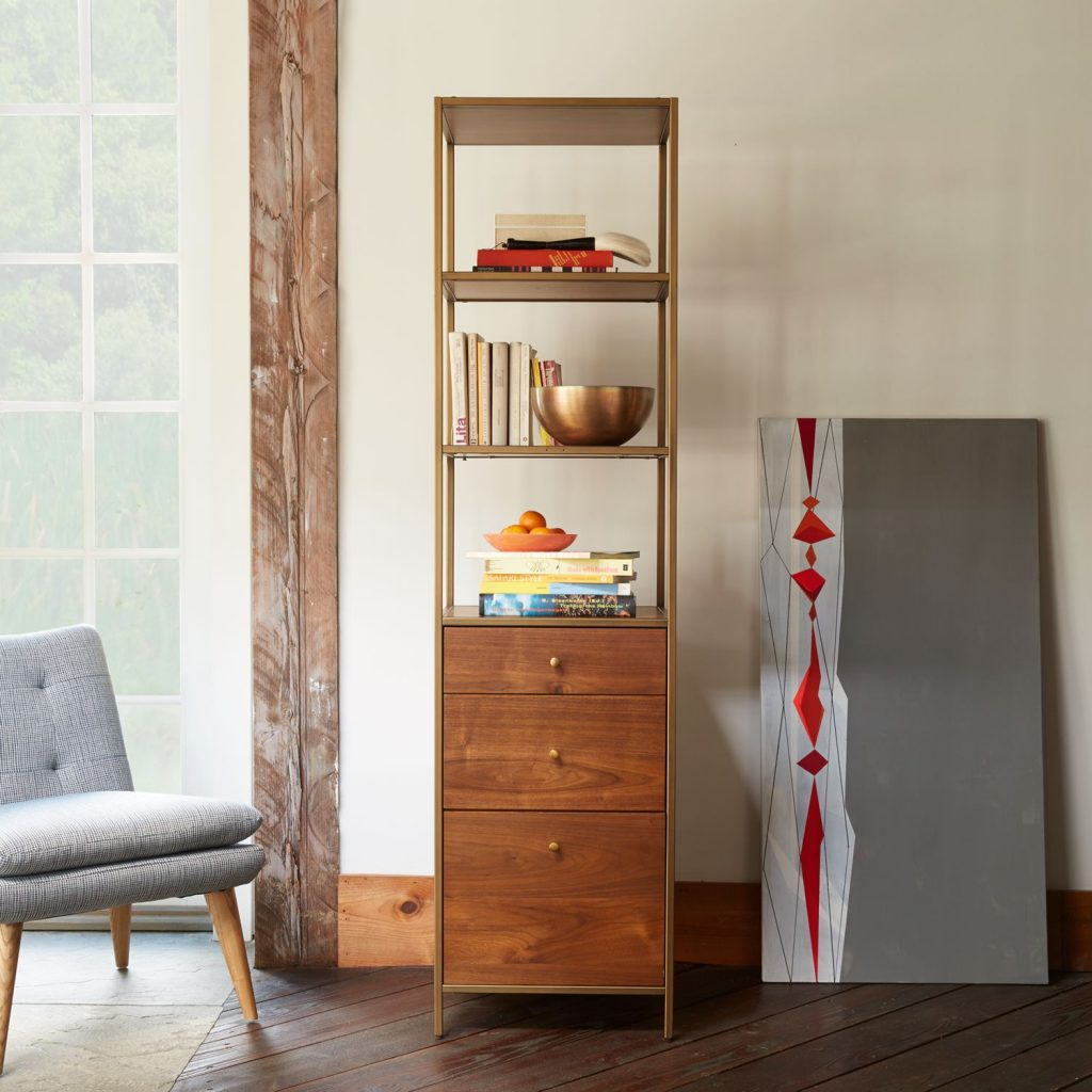 Tall storage unit with 3 drawers and 3 shelves