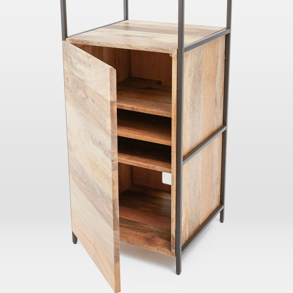 Storage cupboard section with shelves