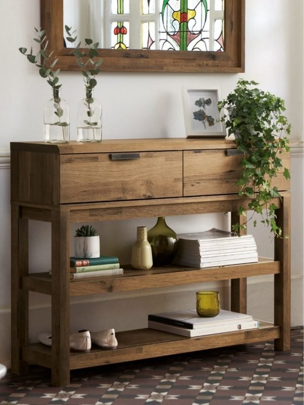 Rustic oak effect table with 2 drawers and 2 shelves