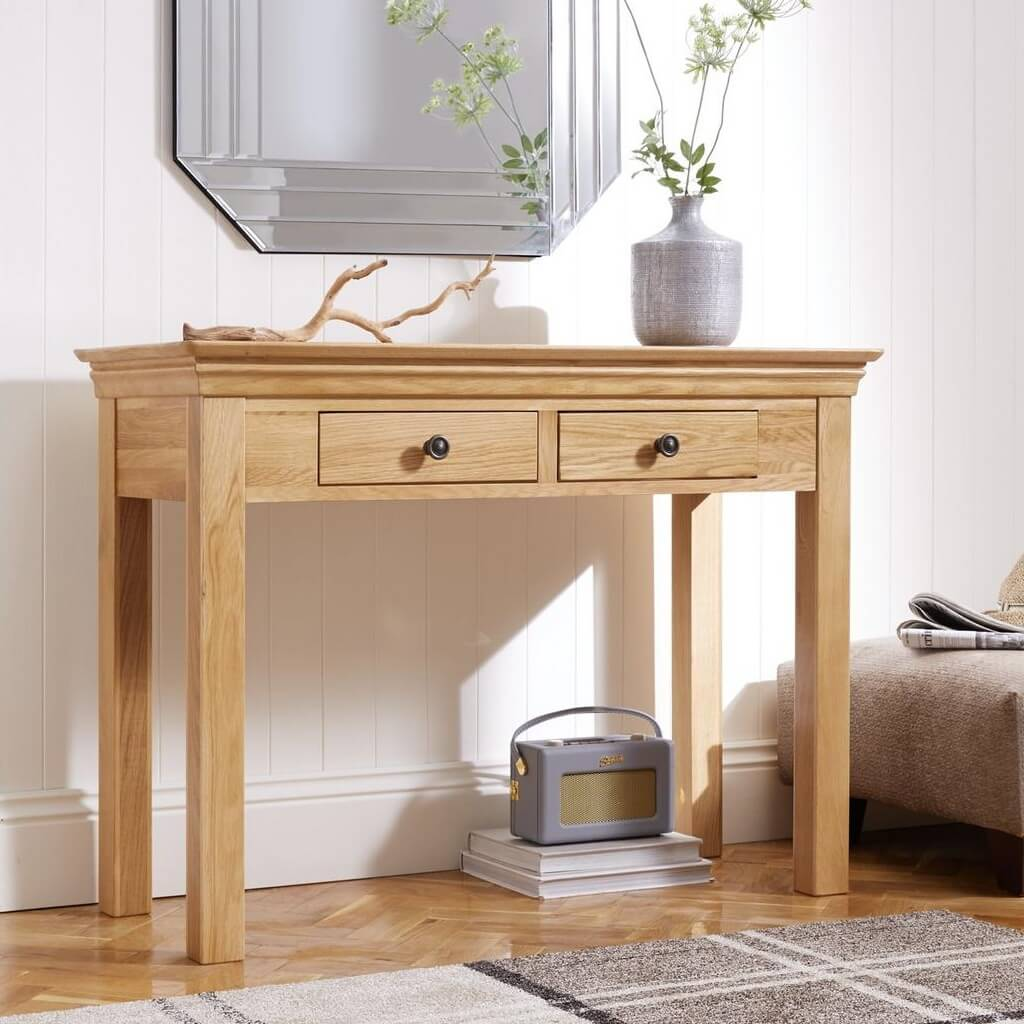Oak console table with 2 drawers