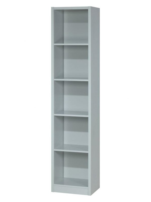 Grey, tall slim bookcase