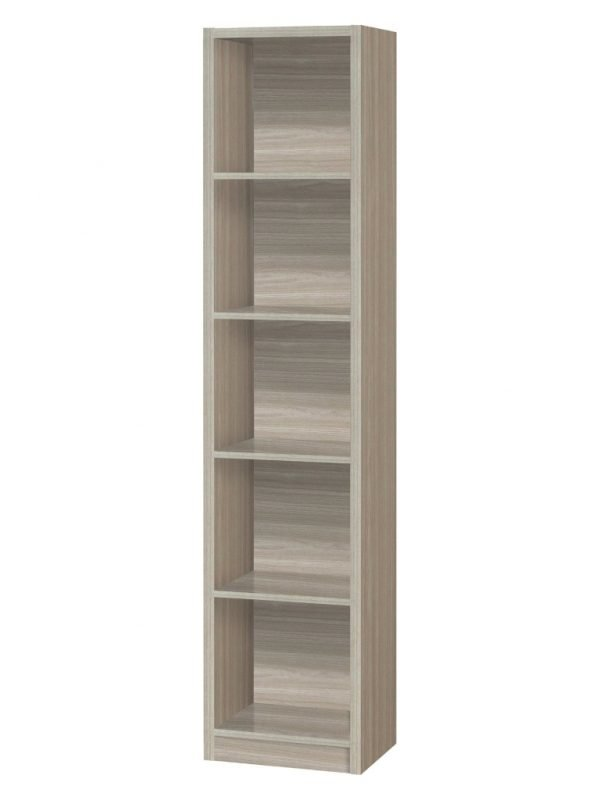 Tall, slim oak effect bookcase