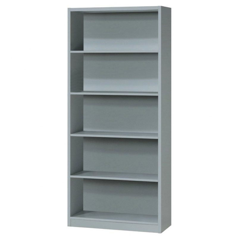 Tall bookcase with extra deep shelves in grey