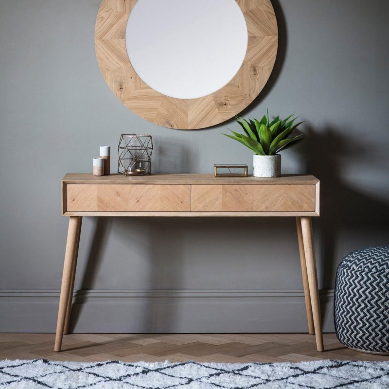 Oak veneer console table with 2 drawers