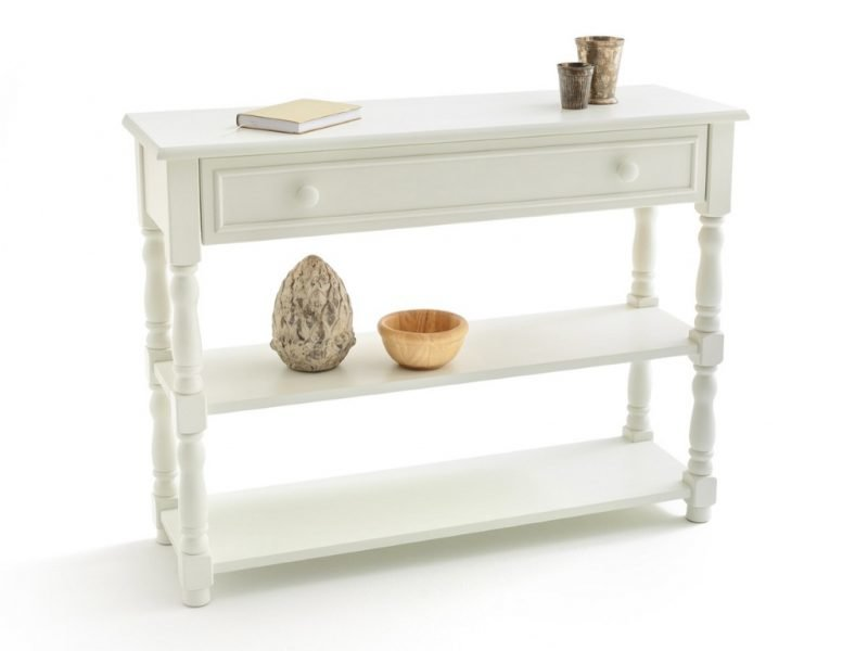 Ivory painted console table with drawers