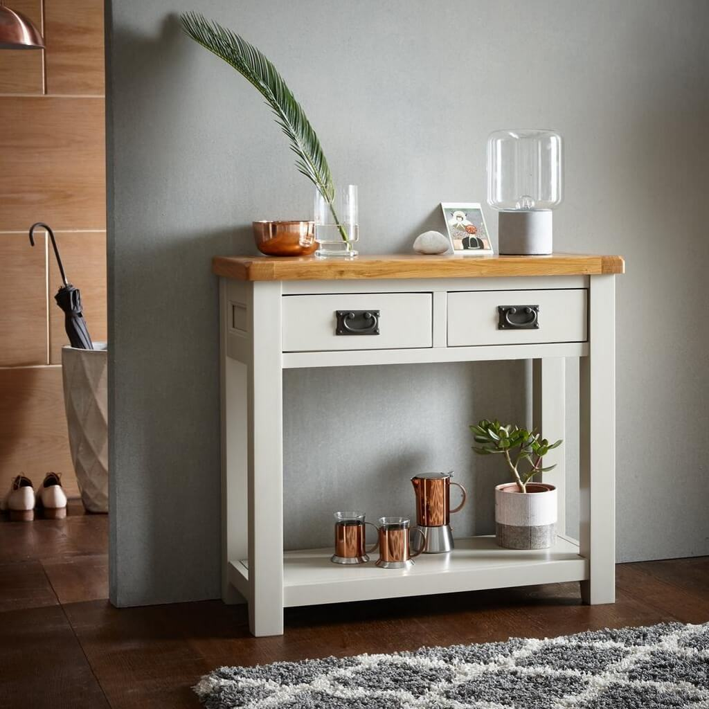 Grey painted console table with oak top