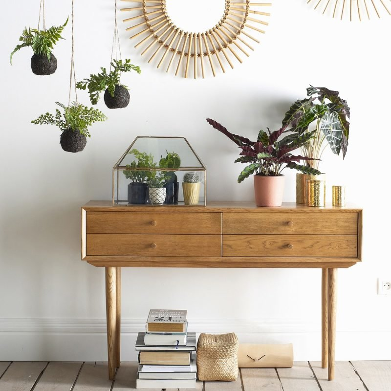 Vintage style oak console table with drawers