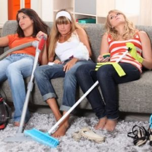 3 girls looking knackered after doing the cleaning