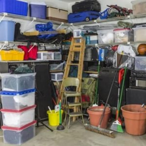 Garage filled with clutter