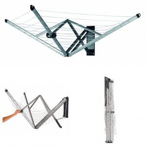 Wall-mounted, foldaway clothes airer