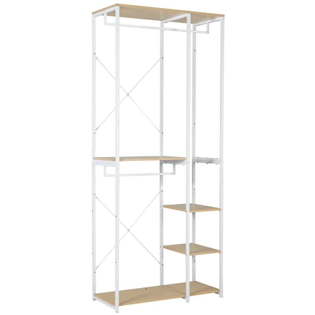 Metal frame wardrobe with 4 shelves