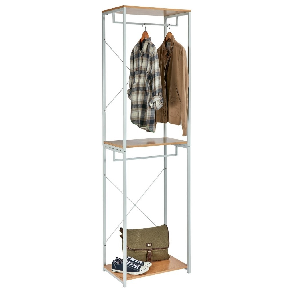 Steel frame open wardrobe with 2 rails and wooden shelves