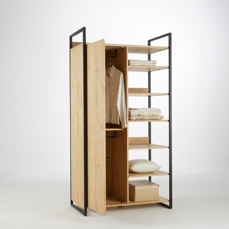 Combined shelf and wardrobe unit