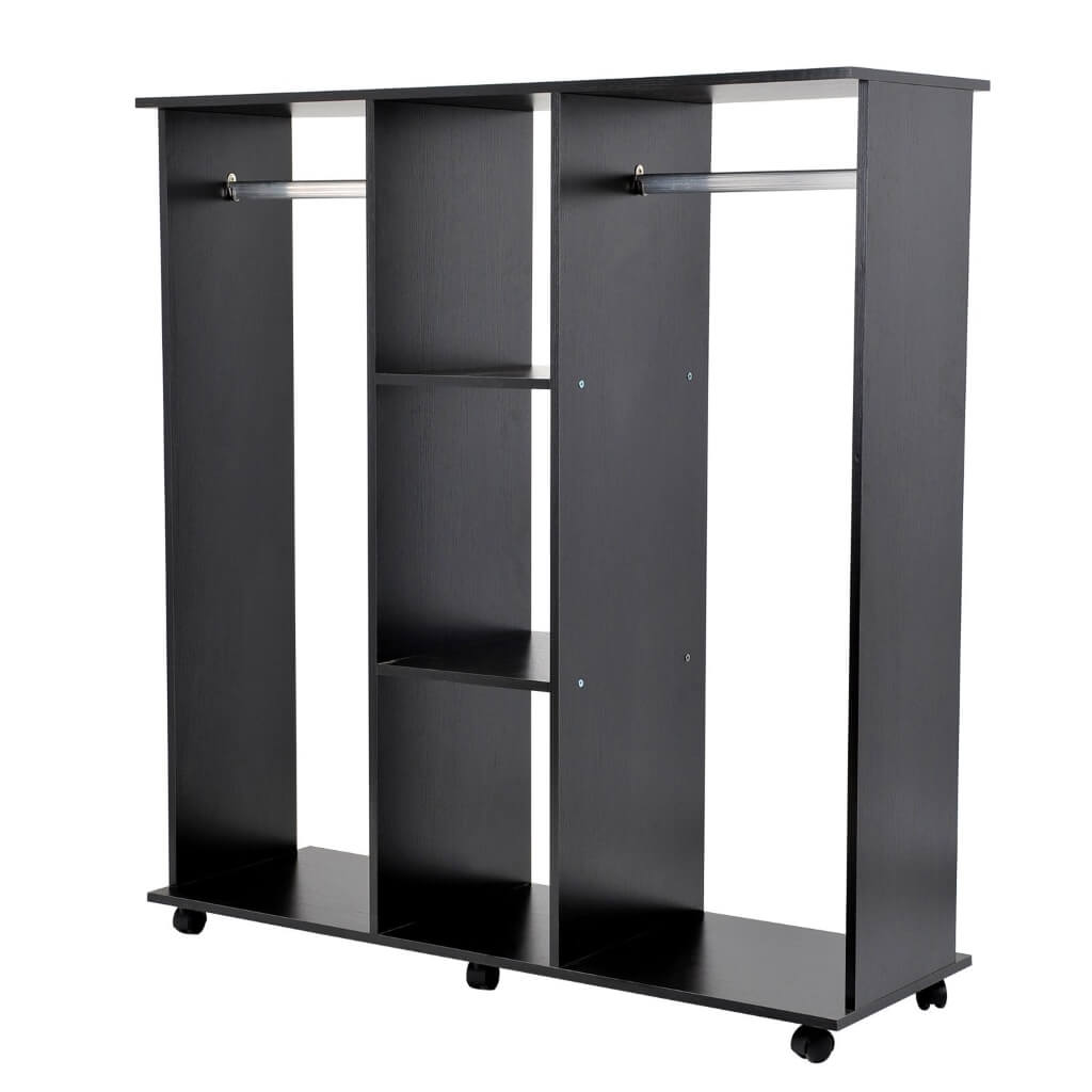 Mobile open wardrobe with 2 hanging rails