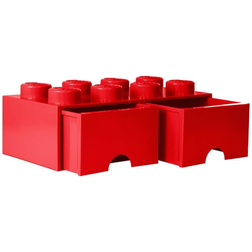 Red Lego Storage Brick with 2 Drawers