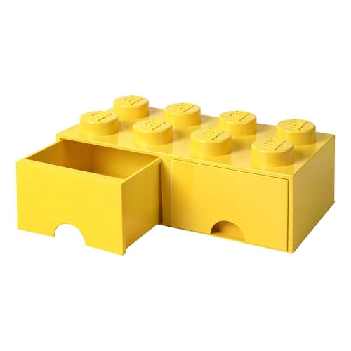 Yellow Lego Storage Brick with 2 Drawers
