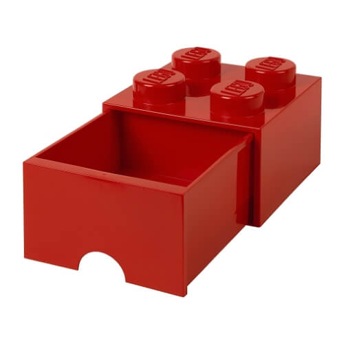 Red Yellow Single Lego Storage Brick with Drawer