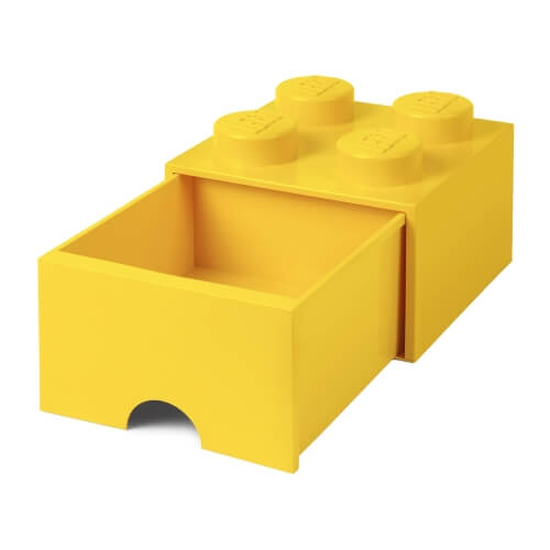 Yellow Single Lego Storage Brick with Drawer