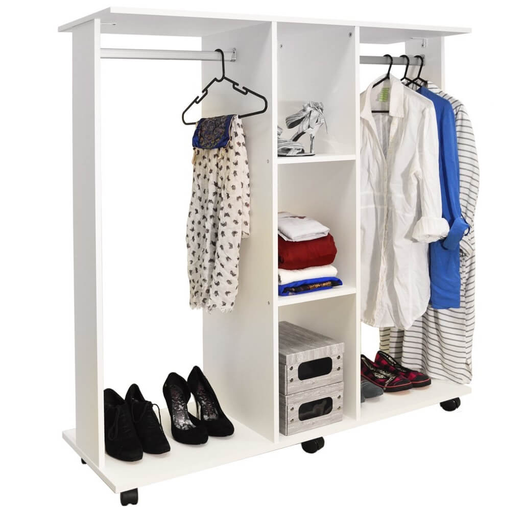 White open wardrobe with 2 hanging rails