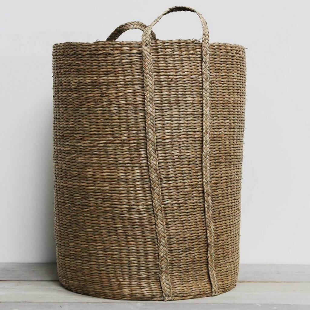 woven seagrass laundry basket