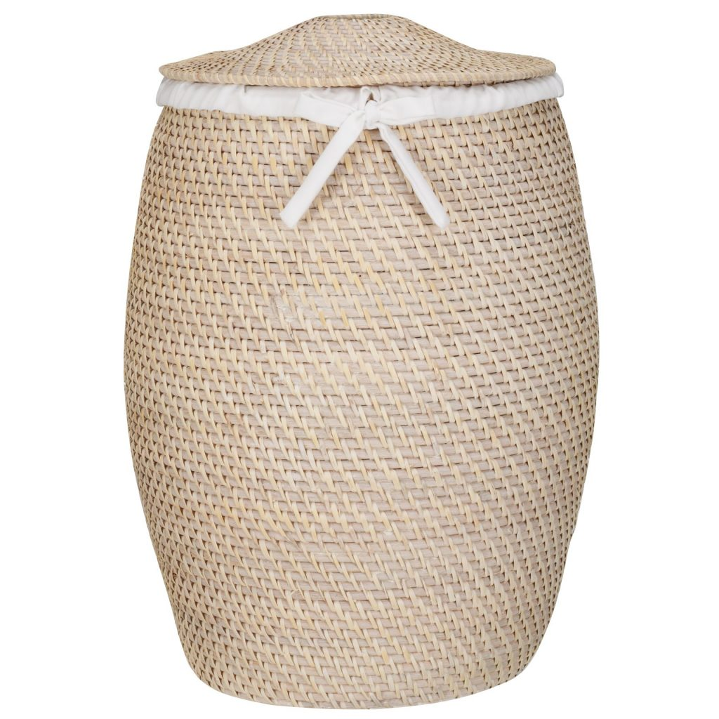 Large round rattan basket with lid