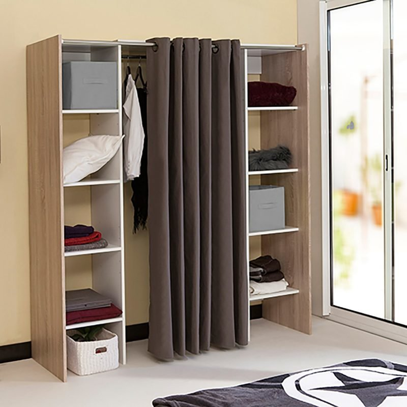 Adjustable clothes storage with shelves and hanging rail