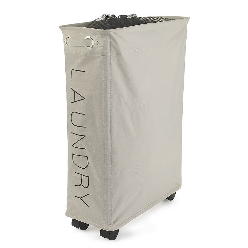 Space saving laundry bin on castors