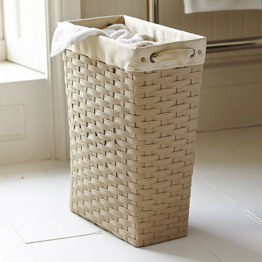 Laundry basket with woven effect finish and liner