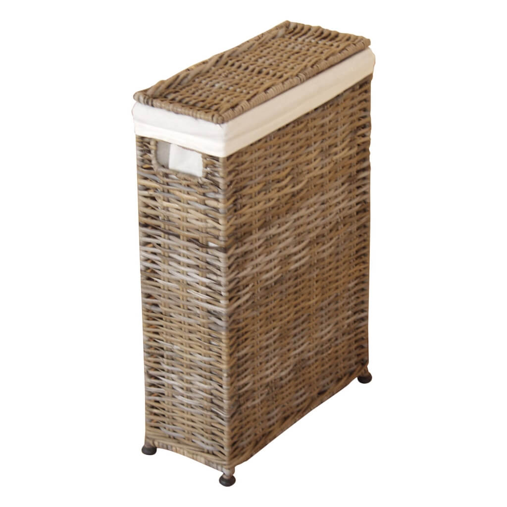 Slim rattan laundry basket with liner and hinged lid