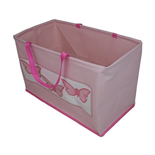 Pink storage bag with butterflies design
