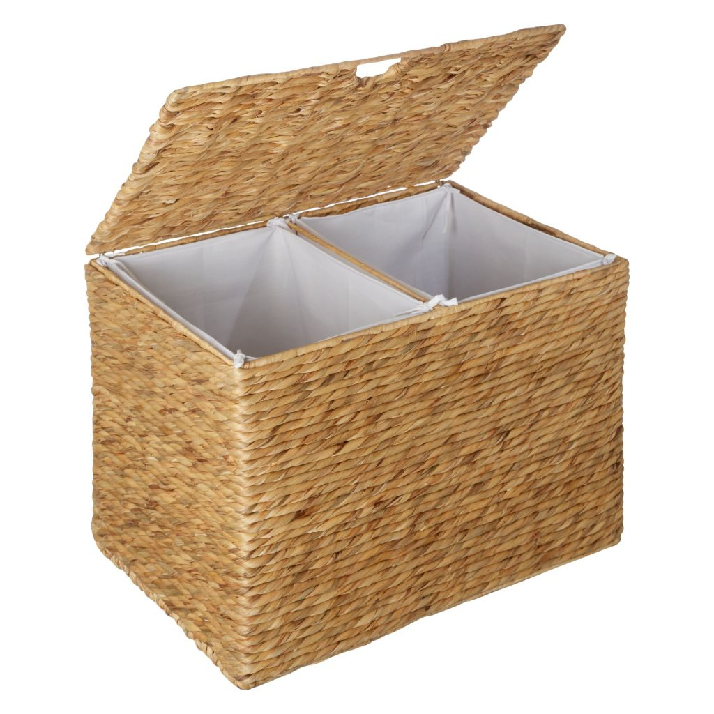 Twin compartment water hyacinth basket