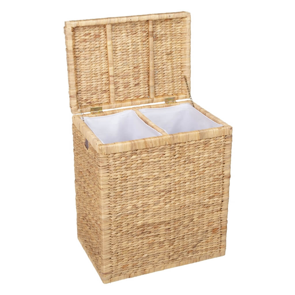 Double size woven water hyacinth laundry basket