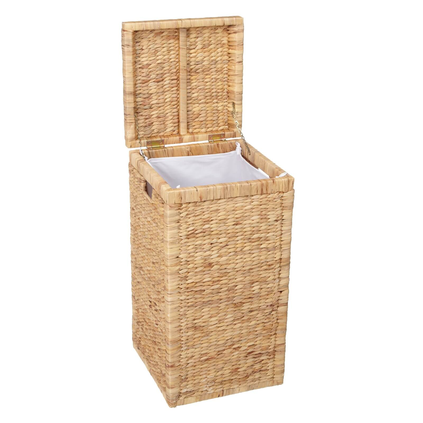 woven water hyacinth hamper with lid and canvas liner