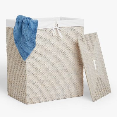 Light coloured laundry hamper with liner