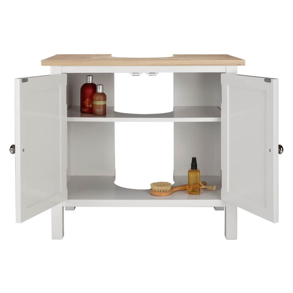 Grey and oak under sink unit with 2 internal shelves