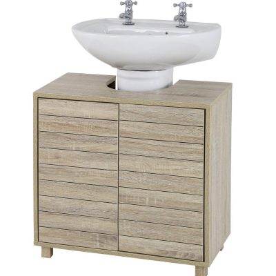 Undersink cabinet with wood grain finish