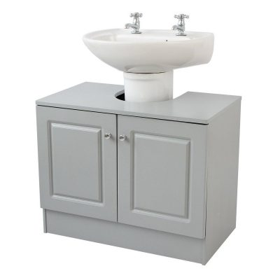 Grey-painted undersink cabinet