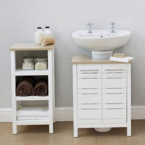 White under sink cabinet with oak effect top