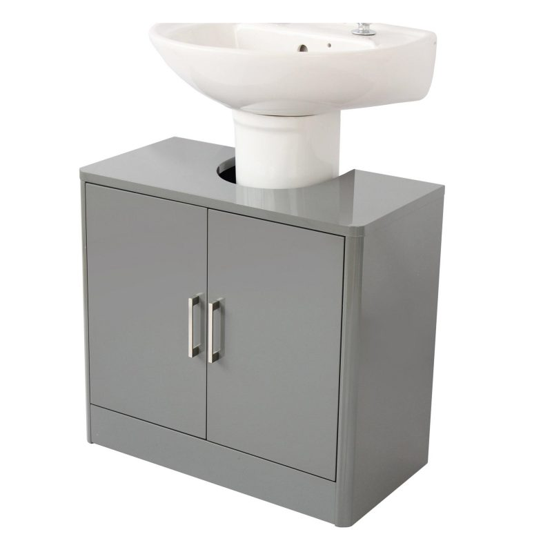 Grey gloss under sink unit