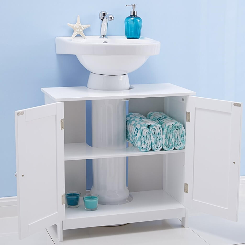 Croft collection white bathroom units with oak shelves for Bathroom cabinet organizer ideas