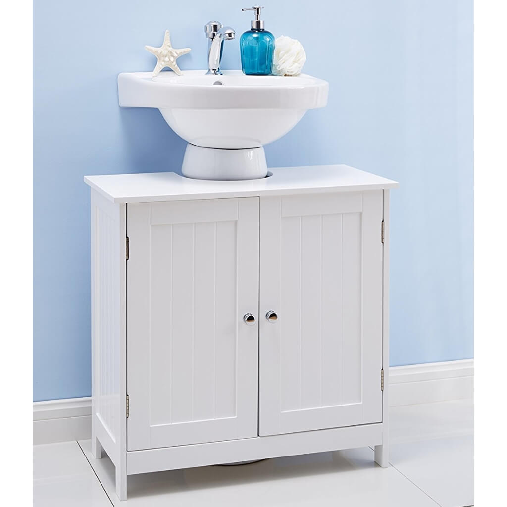 White painted under sink storage cabinet