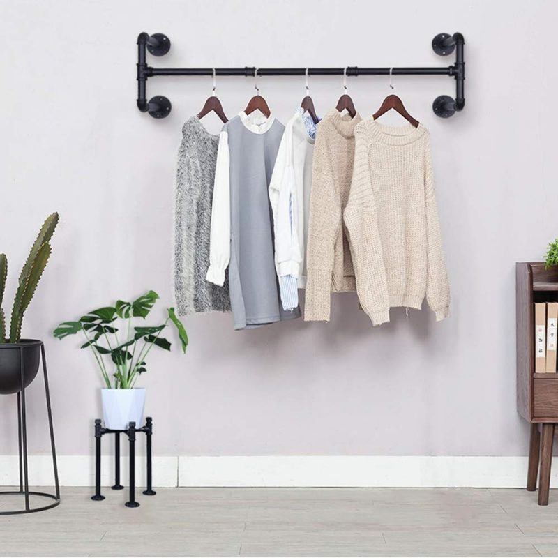 Industrial style wall-mounted clothes rack