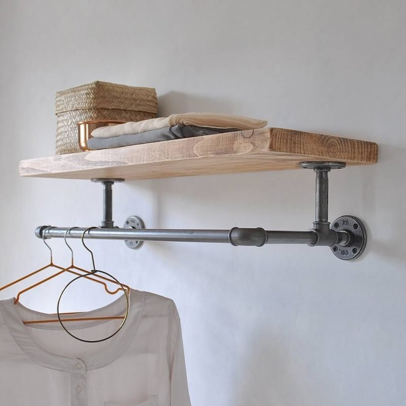 Pine wall shelf with industrial style rail underneath
