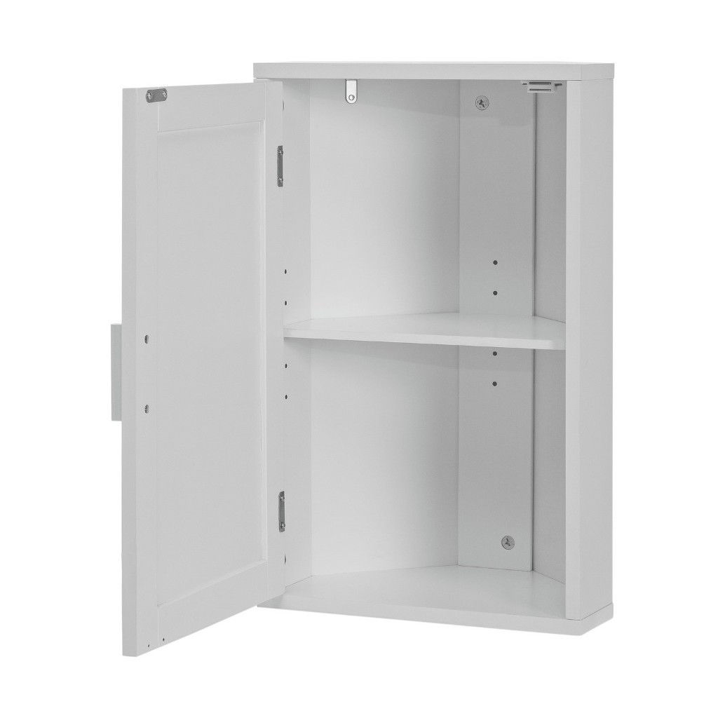 Inside of white painted corner cabinet